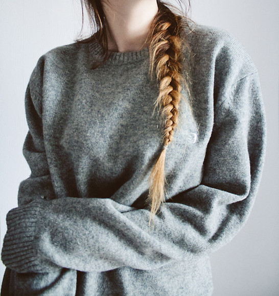 sweater grey oversized sweater white large black fishtail braid