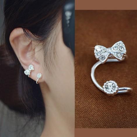 Bow and round rhinestone ear cuff (silver,single, no piercing)