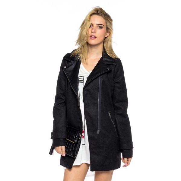 jacket black noir vanity row dress to kill style chic fashion mid length winter jacket fall jacket