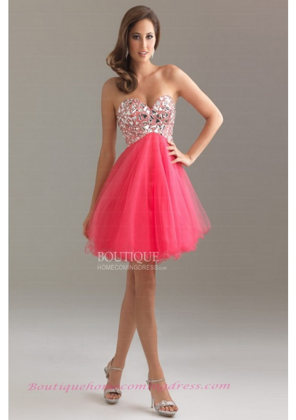 Line sweetheart rhinestone bodice empire waist short tulle lace up homecoming dress