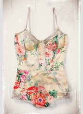 underwear,bodysuit,vintage,floral