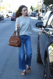 sweater,lily collins,fall outfits,streetstyle,slide shoes,mules,jeans,flare jeans