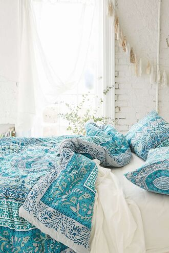 home accessory bedding teal turquoise bedspread bed bedcover blue
