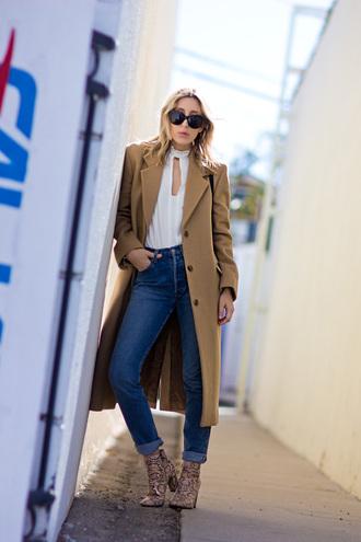 the fashion sight blogger jeans long coat wool coat white blouse snake shoes camel long coat