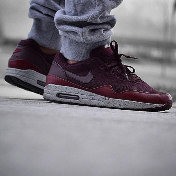 best website 70127 2700e shoes nike air nike air max 1 kicks mens shoes nike burgundy