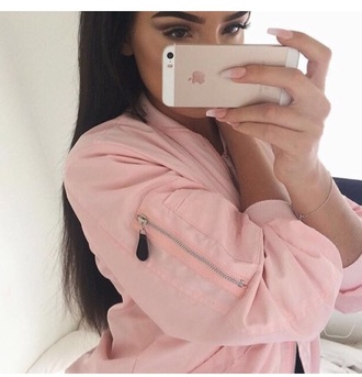 jacket pink jacket bomber jacket bomber style light pink baby pink