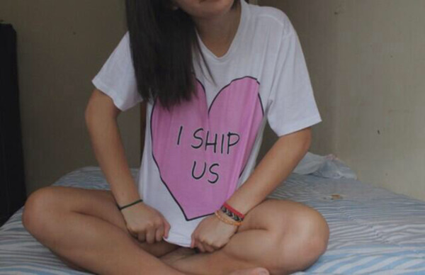 shirt ship i ship us quote on it tumblr cute couple heart t-shirt t-shirt pink black white crop tops summer spring fashion gorgeous