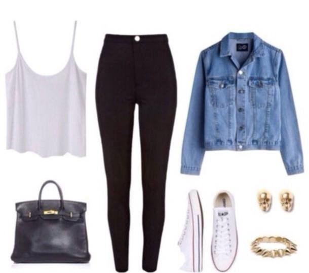 jacket denim jacket denim black jeans high waisted jeans bag tank top jeans jewels