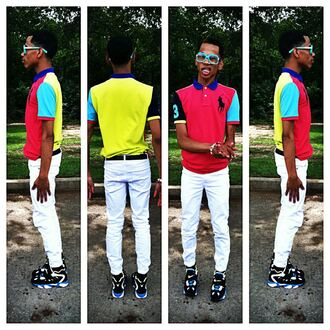 white pants shirt shoes nike nike shoes poloralphlauren turquoise red yellow black blue glasses