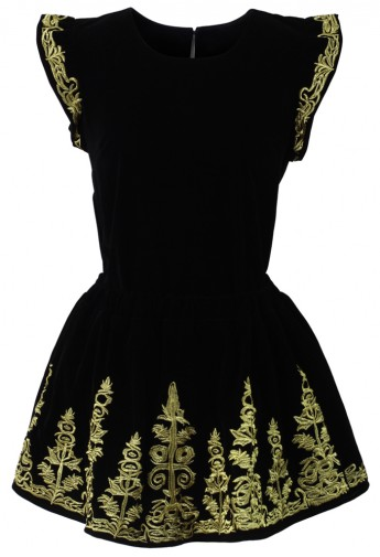Golden Embroidery Velvet Top and Skirt Set in Black - Retro, Indie and Unique Fashion