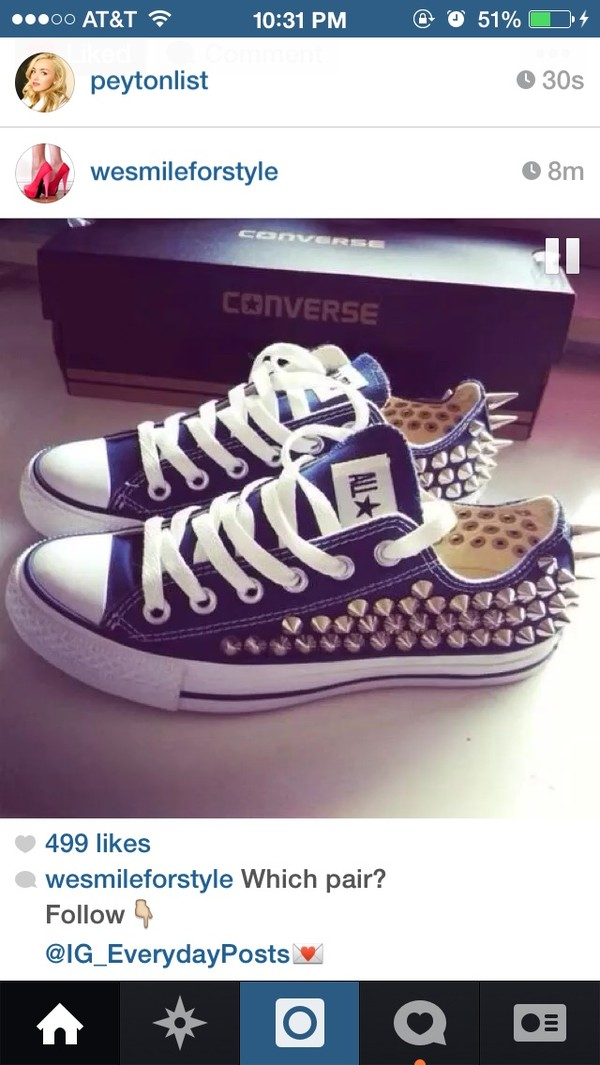 shoes spiked shoes studded converses