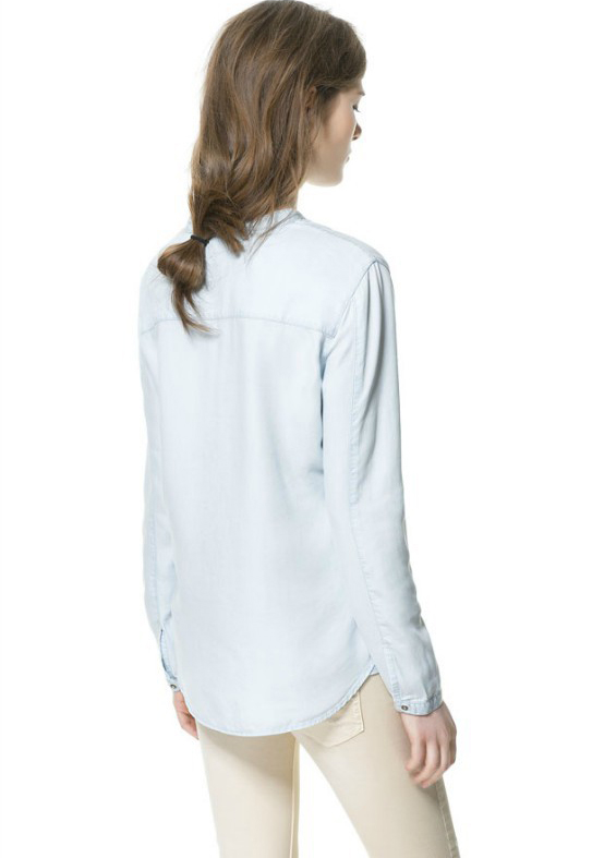 Light Blue Long Sleeve Band Collar Denim Shirt - Sheinside.com