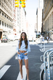 something navy,blogger,top,shorts,shoes,bag,sunglasses,jewels
