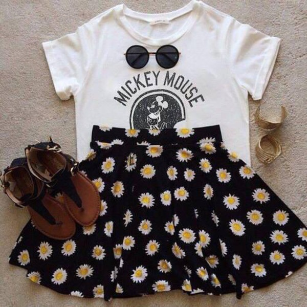 skirt clothes disney flowerpower shirt flowers shoes mickey mouse white graphic tee t-shirt flowers