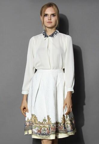 top chicwish white chiffon top crochet collar top fashion and chic