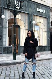 nataliaoona,blogger,jeans,jacket,bag,shoes,black coat,coat,shoulder bag,Valentino,ankle boots,ripped jeans