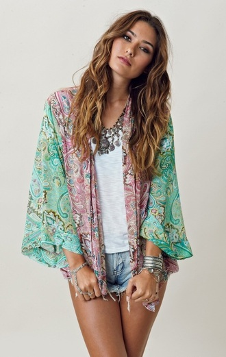 cardigan kimono paisley multicolor festival cute outfits shorts denim shorts jacket sash cover up