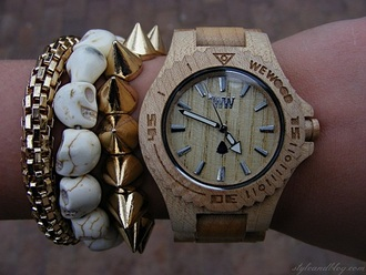 jewels watch wood gold skeleton