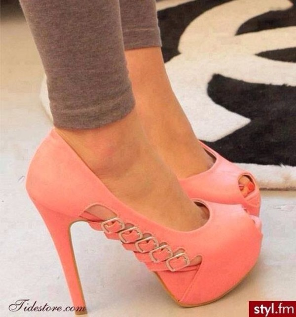 shoes peach heels high heels pumps fashion pink cute peep toe pumps