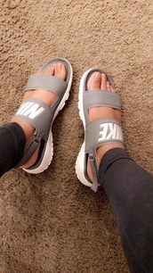 shoes,grey,nike,gray double strapped nike sandals