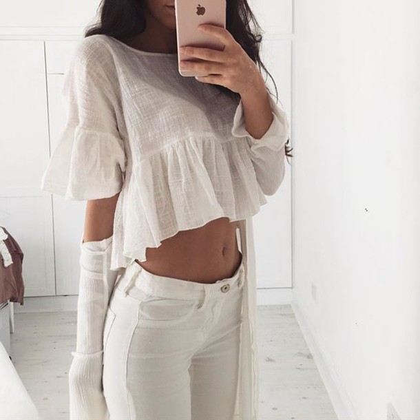Blouse white white top white blouse tumblr cute outfits cute lovely outfit idea all ...