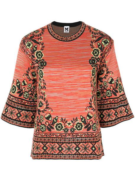 M Missoni - round-neck knit pullover - women - Cotton/Acrylic/Polyamide/Wool - 42, Yellow/Orange, Cotton/Acrylic/Polyamide/Wool