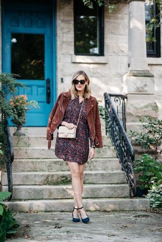 see anna jane blogger jacket dress shoes bag mini dress suede jacket chanel chanel bag