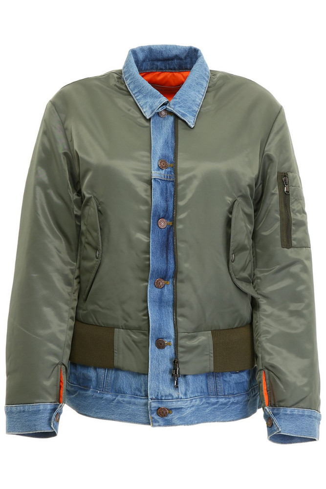 Forte Couture Bomber Jacket in denim / green