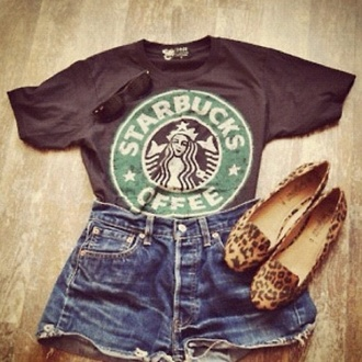 shirt starbucks coffee leopard print print shorts denim coffee shoes sandles heels shades summer look