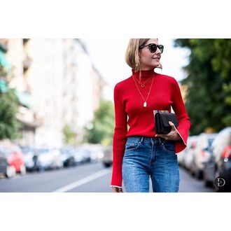 sweater tumblr red sweater bell sleeves bell sleeve sweater necklace sunglasses tortoise shell sunglasses tortoise shell bag black bag streetstyle minimalist jewelry french girl style