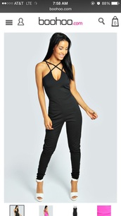 jumpsuit,black,straps,strappy