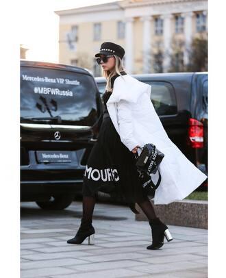 coat tumblr streetstyle white coat hat fisherman cap black dress dress midi dress tights boots ankle boots