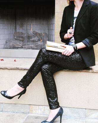 pants sequin pants black pants sequins black blazer blazer top clutch bag shoes pumps high heel pumps heels high heels black heels
