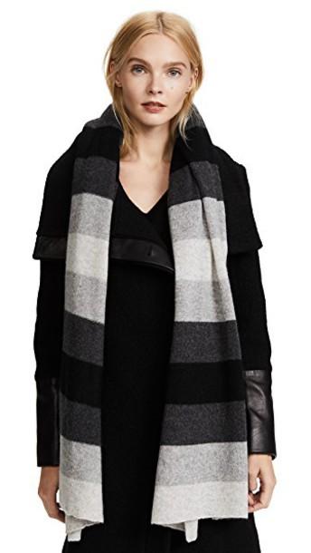White + Warren ombre scarf white black
