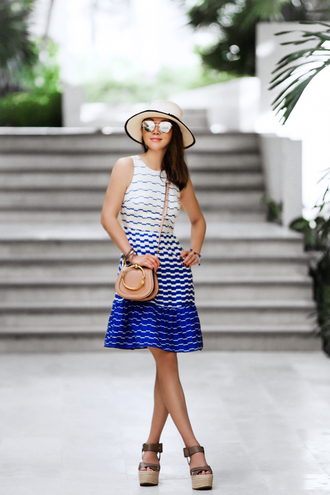 fit fab fun mom blogger dress shoes bag hat jewels sunglasses summer outfits crossbody bag wedges wedge sandals summer dress
