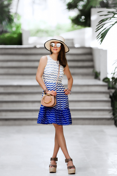 fit fab fun mom blogger dress shoes bag hat jewels sunglasses summer outfits crossbody bag wedges wedge sandals summer dress
