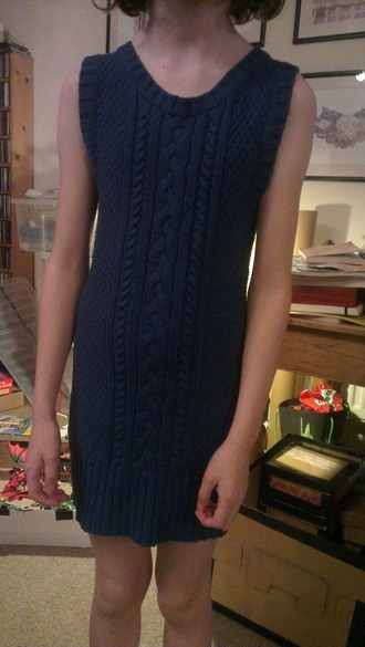 dress blue cotton knitted dress sleeveless pattern