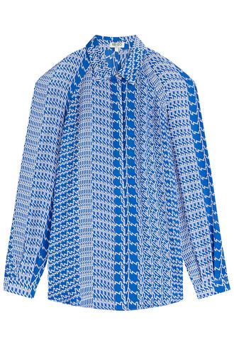 blouse cut-out silk blue top