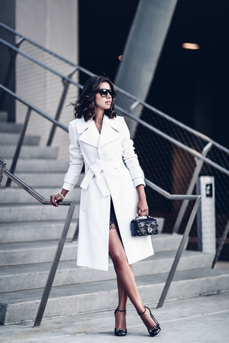 blogger coat dress bag shoes sunglasses jewels white coat mini bag high heels high heel pumps viva luxury mini dress fendi crossbody bag gucci shoes hoop earrings bracelets