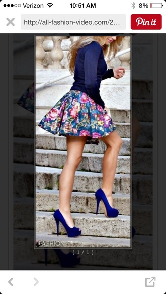 skirt pumps royal blue sweater sweater floral skirt skater skirt neon pumps blue sweater shoes top