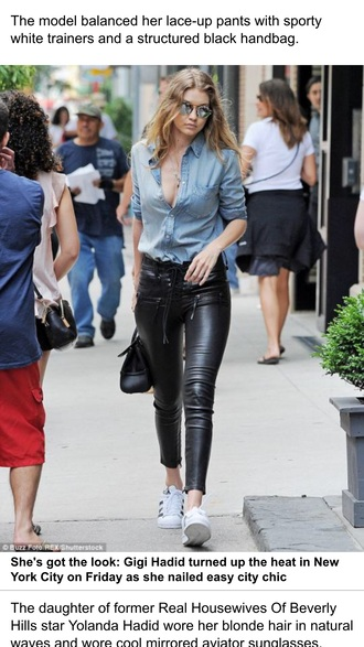 leather pants pants black pants blue shirt denim shirt shirt gigi hadid celebrity celebrity style gigi hadid style sneakers white sneakers adidas adidas superstars sunglasses mirrored sunglasses bag black bag