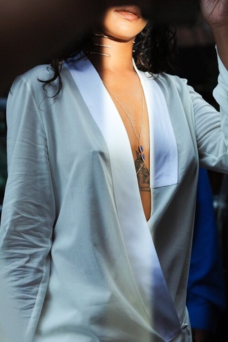 blouse rihanna silk blue shirt