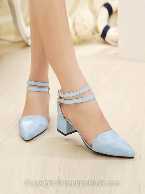 Blue Rubber Chunky Heel Sandals Closed Toe With Ankle Strap Shoes - HandpickLook.com