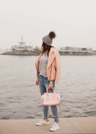 the bow-tie blogger jacket sweater jeans bag hat