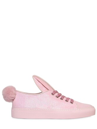 glitter bunny sneakers leather pink shoes