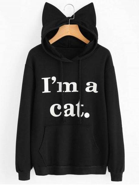 sweater black cats cool quote on it hoodie zaful