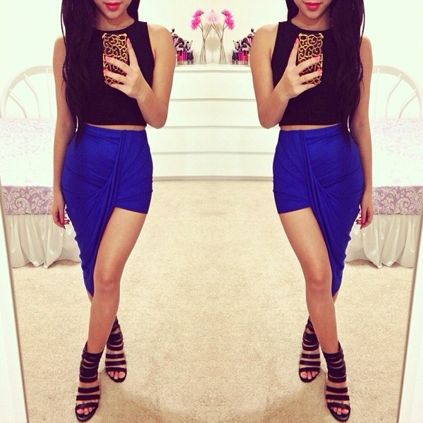 skirt shoes blue skirt leg split sexy skirt royal blue blue