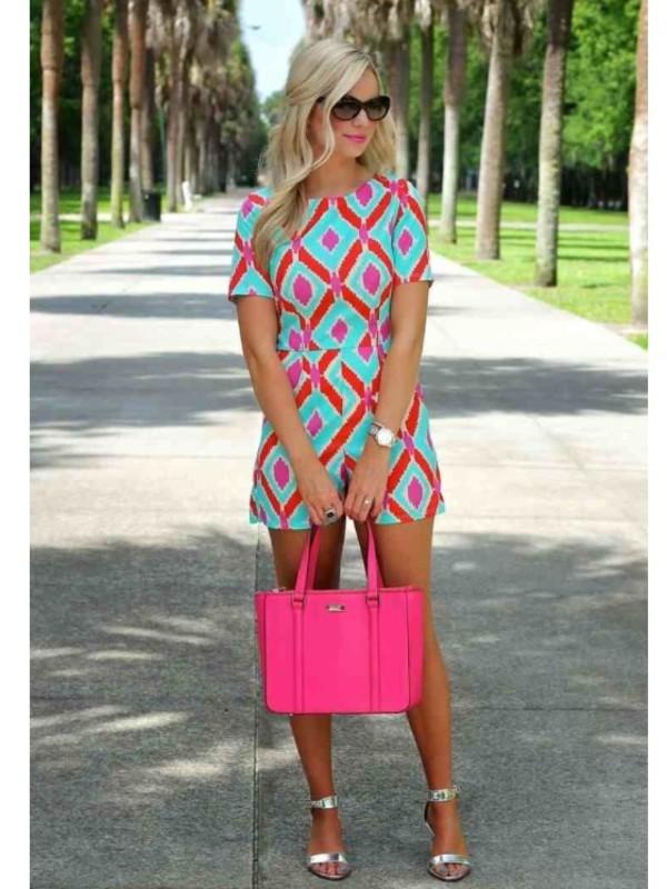 bag chevron fit hot pink bag shorts shirt