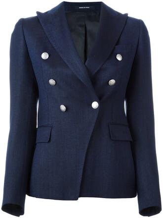 blazer women mohair blue silk wool jacket