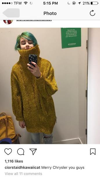 sweater turtleneck gold oversized chunky knit